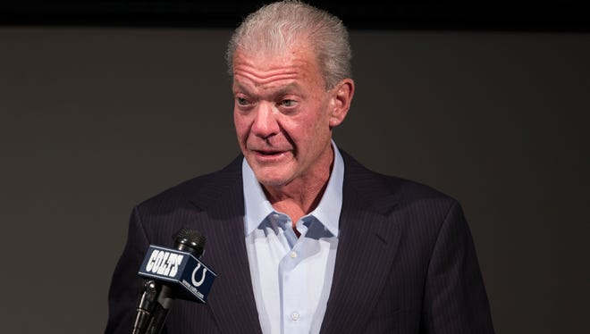 Jim Irsay, team owner of the Colts, introduces Dwight Freeney, longtime pass rusher for the 