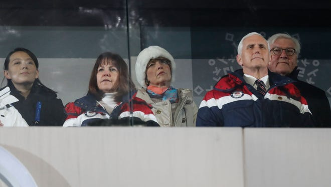 Vice President Pence sits a row away from North Korea's Kim Yo Jong, left, at the opening ceremony of the Winter Olympics.