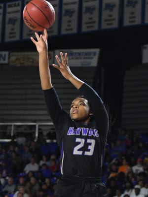 Haywood's Jamirah Shutes pulls up for a shot during the 2018 Class AA semifinals against Upperman, Friday, March 9, in Murfreesboro.