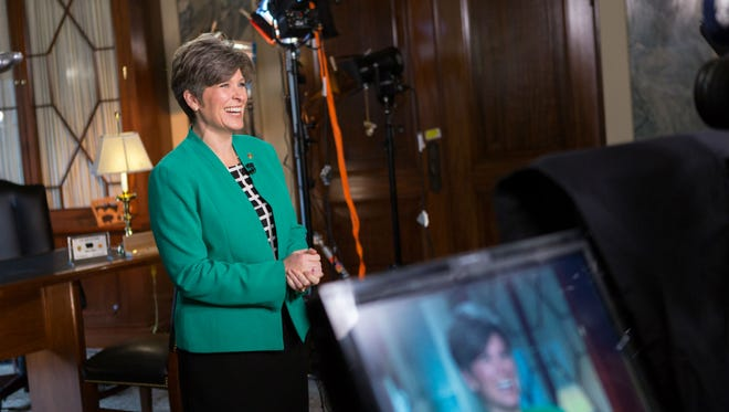 Iowa U.S. Sen. Joni Ernst tweeted out this photo of herself this morning preparing for tonight's State of the Union response speech.