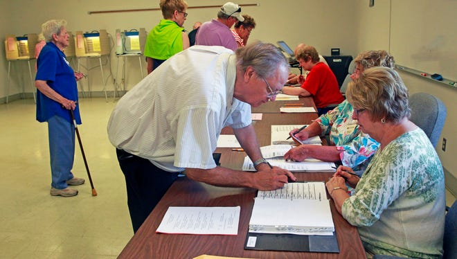 A steady stream of voters line up to vote Tuesday at Franklin City Hall in Franklin.