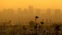 A look of downtown Phoenix as a dust storm moves in