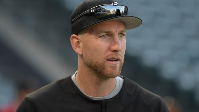 Chicago White Sox third baseman Todd Frazier (21) reacts during a MLB baseball game against the Los Angeles Angels at Angel Stadium of Anaheim on May 17.