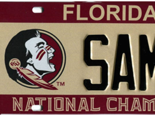 Florida State is the second most-popular specialty license plate.