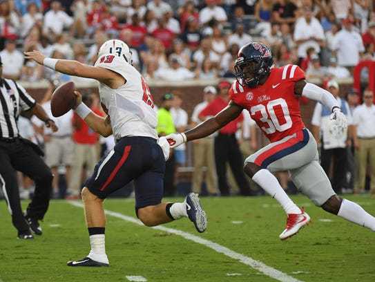 Ole Miss defensive back A.J. Moore (30) had started