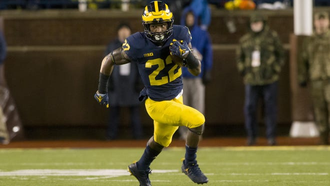 """""""We've competed very well with our defense. We surprised them with the transition that we've made,"""" Michigan running back Karan Higdon says."""
