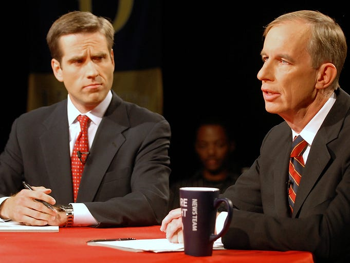 "Attorney General candidates Joseph ""Beau"" Biden III and Ferris Wharton square off in 2006."