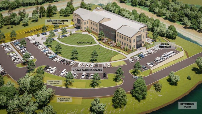 An artist's rendering of the proposed library and administration building that would be located off the U.S. Highway 441 bypass in Watkinsville.