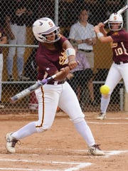 Salisbury University's Kim Dorsey with a hit against