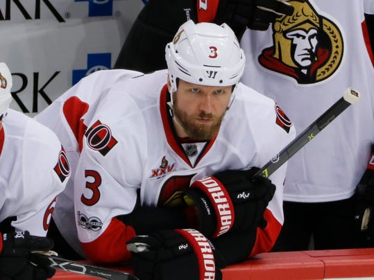 FILE- This May 15, 2017 file photo shows Ottawa Senators' Marc Methot (3) watching from the bench during the third period of Game 2 of the Eastern Conference final in the NHL hockey Stanley Cup playoffs against the Pittsburgh Penguins in Pittsburgh. The Dallas Stars have acquired Methot in a trade with the Vegas Golden Knights. The teams announced the deal Monday, June 26, 2017 less than a week since the Golden Knights took Methot in the expansion draft from the Ottawa Senators. (AP Photo/Gene J.Puskar)
