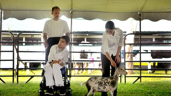 Nick Thielen with his father Joe and sister Alysha showed a goat named Cookies N Cream at the Sherburne Fair on Thursday. Nick, who was in a car accident that left him paralyzed, developed his interest in animals through 4-H.