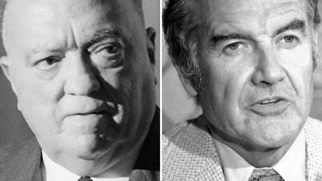 FBI director J. Edgar Hoover in 1967 and U.S. Sen. George McGovern in 1975.