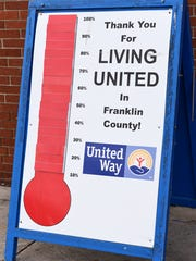 United Way of Franklin County's sign showing it has succeeded in raising its goal of $750,000 photographed in Chambersburg, Pa. on Wednesday, March 2, 2016. Franklin County United Way in total raised $752,030 from Sept. of 2015 till Feb. 29, 2016.