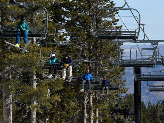 Skiers take advantage of man made snow at Mt. Rose