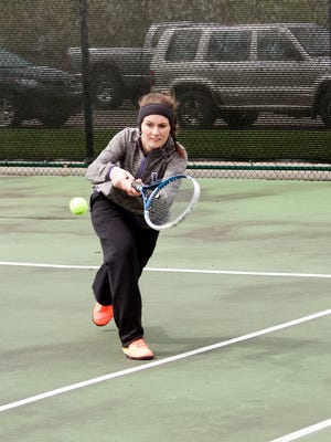 #1 Singles for Lakeview, Junior Megan Wendt, plays during Friday's All-City Tournament