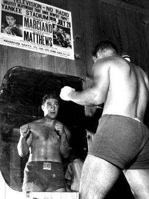 Rocky Marciano trains on July 16, 1952. Marciano died on Aug. 31, 1969. the day before his 46th birthday.
