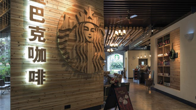 The inside of a Starbucks store in Dongguan, China