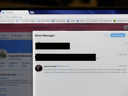 A direct message from James Comer on Twitter to the