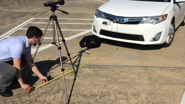 Louisiana Tech researchers conduct noise output measurements on electric cars.