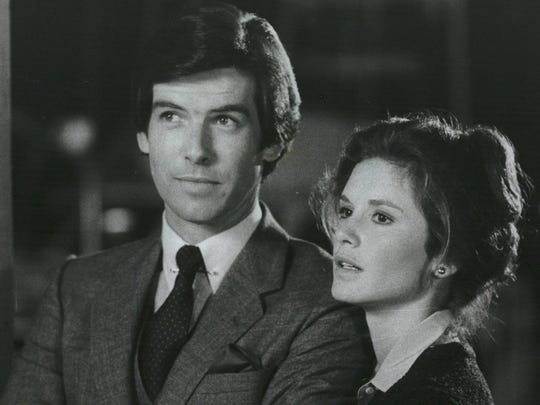 "Pierce Brosnan and Stephanie Zimbalist in ""Remington Steele."""