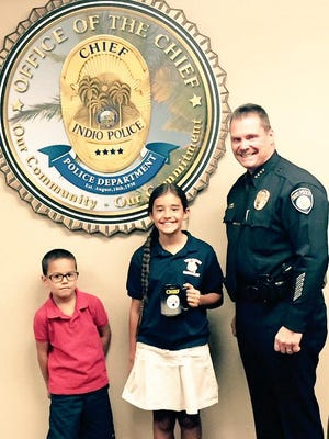 """Local fifth-grader Bella Cazares was named honorary """"Chief for a Day"""" by the Indio Police Department Chief Richard Twiss on Tuesday."""