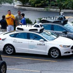 Uber's (and this is a Ford Fusion) self-driving car began testing on the streets of Pittsburgh earlier this year. This week the ride-sharing company and Volvo announced plans to have 100 autonomous vehicles in Pittsburgh by the end of this year. But a driver will be required in case human intervention is needed.