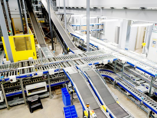 The new shipping automation system is seen during a
