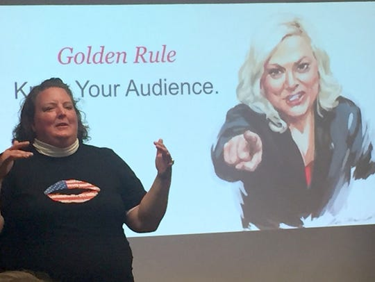 Shannon Garrett, a co-founder and chairman of Vote Run Lead, has trained thousands of women candidates since the November 2016 elections. She is talking during a training session for Vote Run Lead on May 6, 2017, in Ypsilanti.
