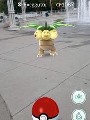 An Exeggutor appears at World's Fair Park in the mobile