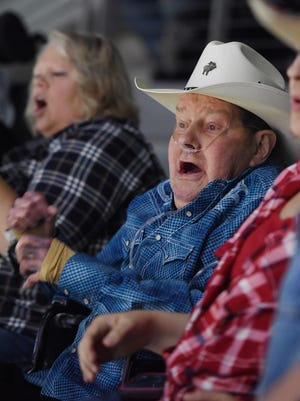 Roger Kipperchuck reacts while watching the Professional Bull Riders Built Ford Tough Series event at the Denny Sanford Premier Center during his birthday on Sunday, April 2, 2017. Kipperchuck is in Hospice care for cancer and his last wish was to attend the bull riding event.