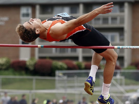 York Suburban's Bodhi Wilson, compets in the 3A high jump, during Day 2 of the District 3 Track and Field Championships at Shippensburg University Saturday May 20, 2017.