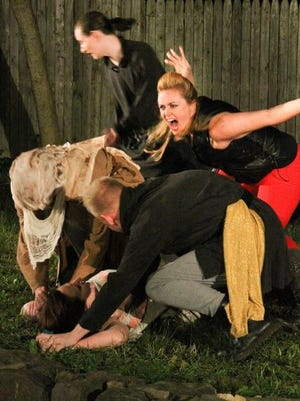 """Jessica Fields is Diomedes, Sean McGuire is Patroclus in Arden Shakespeare Gild's 2016 production """"Troilus and Cressida"""" running through June 25."""