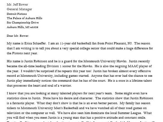 One of the letters Point Pleasant's Erica Schaeffer, and 11-year-old Monmouth basketball fan, send to all 30  NBA general managers about her favorite player, Hawks point guard Justin Robinson.