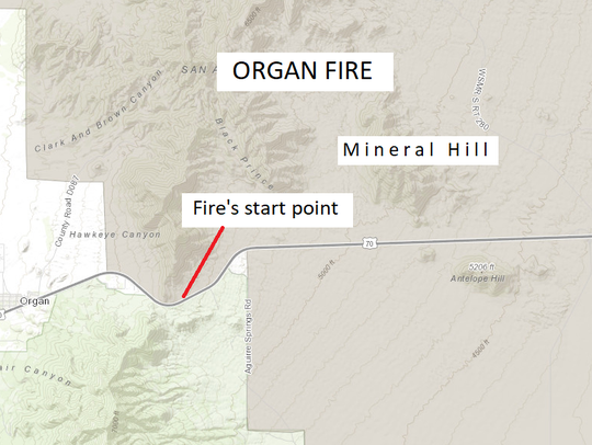 Mineral Hill, location of the Organ Fire, is seen north