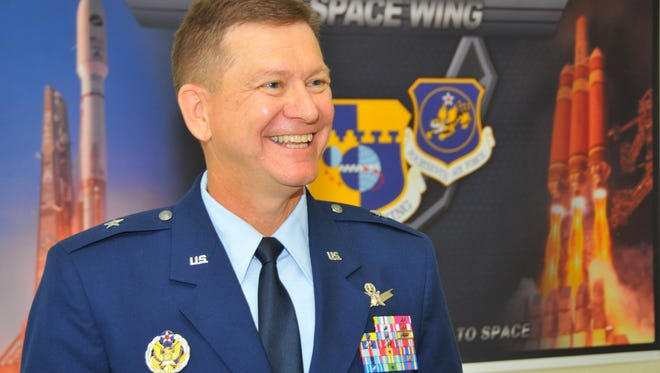 The 45th Space Wing Change of Command ceremony took place Tuesday morning with Brigadier General Wayne R. Monteith assuming command from Brigadier General  Nina M. Armagno. Brigadier General Wayne R. Monteith talks to the media after the ceremony.