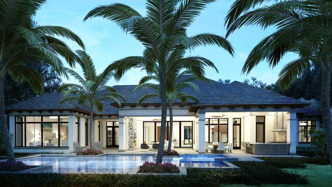 This custom home at 702 Tararind Court in Pelican Bay is nearing completion.