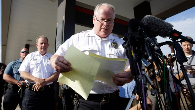 Ferguson Police Chief Thomas Jackson releases the name of the the officer accused of fatally shooting Michael Brown,  an unarmed black teenager. Jackson announced that the officer's name is Darren Wilson.