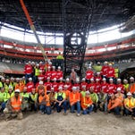 The Detroit Red Wings visit the site of the future Little Caesars Arena Monday Oct. 24, 2017.