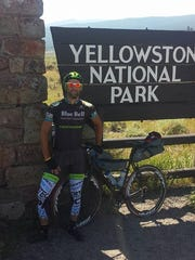 Jared Fenstermacher stopped at Yellowstone National Park on his 3,000-mile journey across the country.