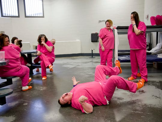 Inmate Blanche Ball, 30, performs her rendition of