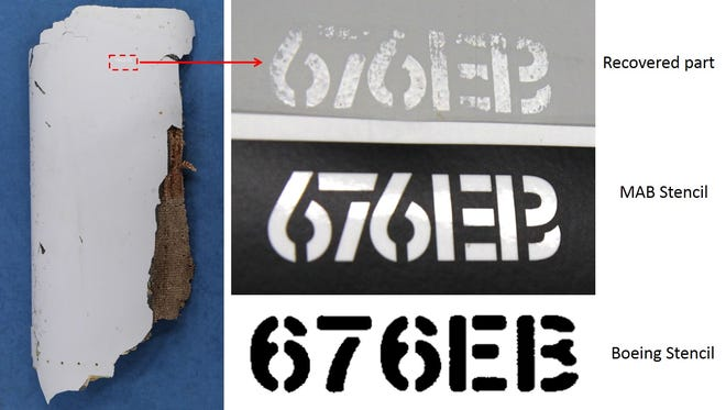 """A piece of the right wing of a Boeing 777 """"almost certainly"""" belongs to the missing Malaysia Airlines flight 370 because its stenciling matches the airline's markings rather than Boeing's, according to investigators at the Australian Transport Safety Bureau."""