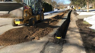 Crews from PSE&G were out on Cedar Road in Pequannock replacing gas lines.