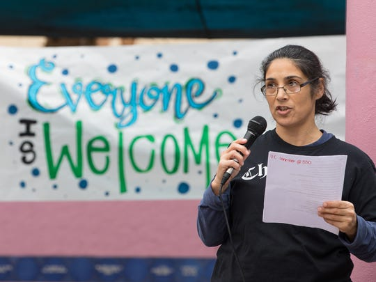 Isabel Araiza speaks during a Unity Rally on Thursday, Feb. 8, 2018, in the Dr. Hector P. Garcia Plaza at Texas A&M University-Corpus Christi.