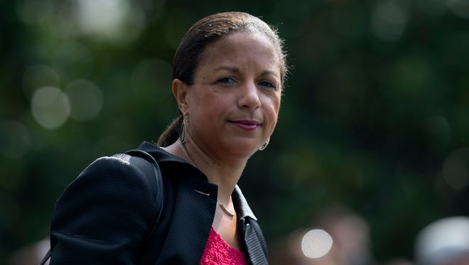 "In this July 7, 2016 file photo, then-National Security Adviser Susan Rice is seen on the South Lawn of the White House in Washington. Rice  says it's ""absolutely false"" that the previous administration used intelligence about President Donald Trump's associates for political purposes."