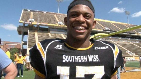 Southern Miss freshman defensive back Picasso Nelson smiles after the Black and Gold Game.