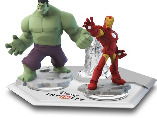 "Hulk and Iron Man are two of the collectible figures that you can play with for the Avengers story line in ""Disney Infinity."""
