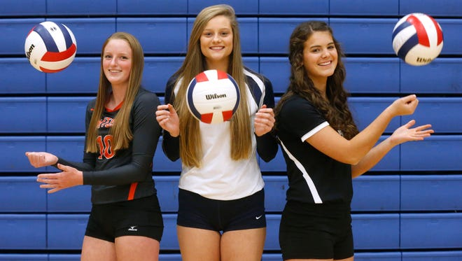 The DNJ All-Area Volleyball player of the year finalists are (l-r) MTCS junior Mackenzie Harris, Siegel sophomore Sophia Bossong and Central Magnet senior Mary Catherine Smith.