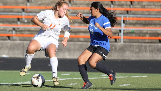 Sprague's Sarah Teubner and the Olympians fall to South Medford 5-0 during a non-league game on Thursday, Sept. 10, 2015, in Salem.