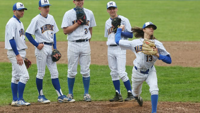 Carmel defeated Mahopac 18-0 in baseball action at Mahopac Midddle School May 12, 2018.