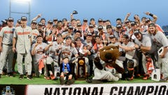 Oregon State celebrates the third national championship